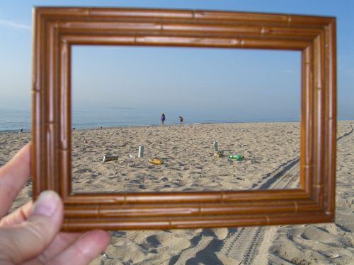 June 11, 2009 Beach litter through frame
