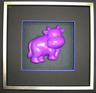 Museum of Litter Art Framed Purple Cow Birthday present for Seth Godin