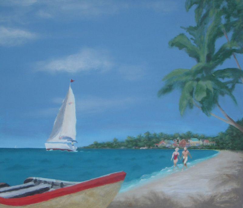 Seaside Stroll, Acrylic on Canvas by Sharon Huff