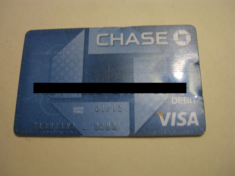 Lost & Found Tashiana L Bohm Chase Debit Card July 2010