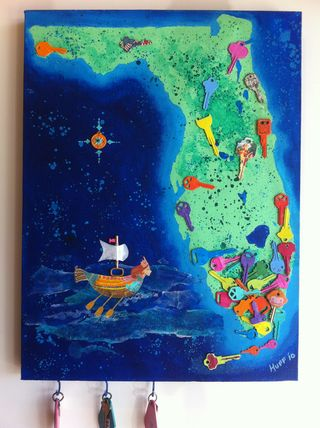 Florida Keys Functional Upcycled Litter Art shown with hanging keys