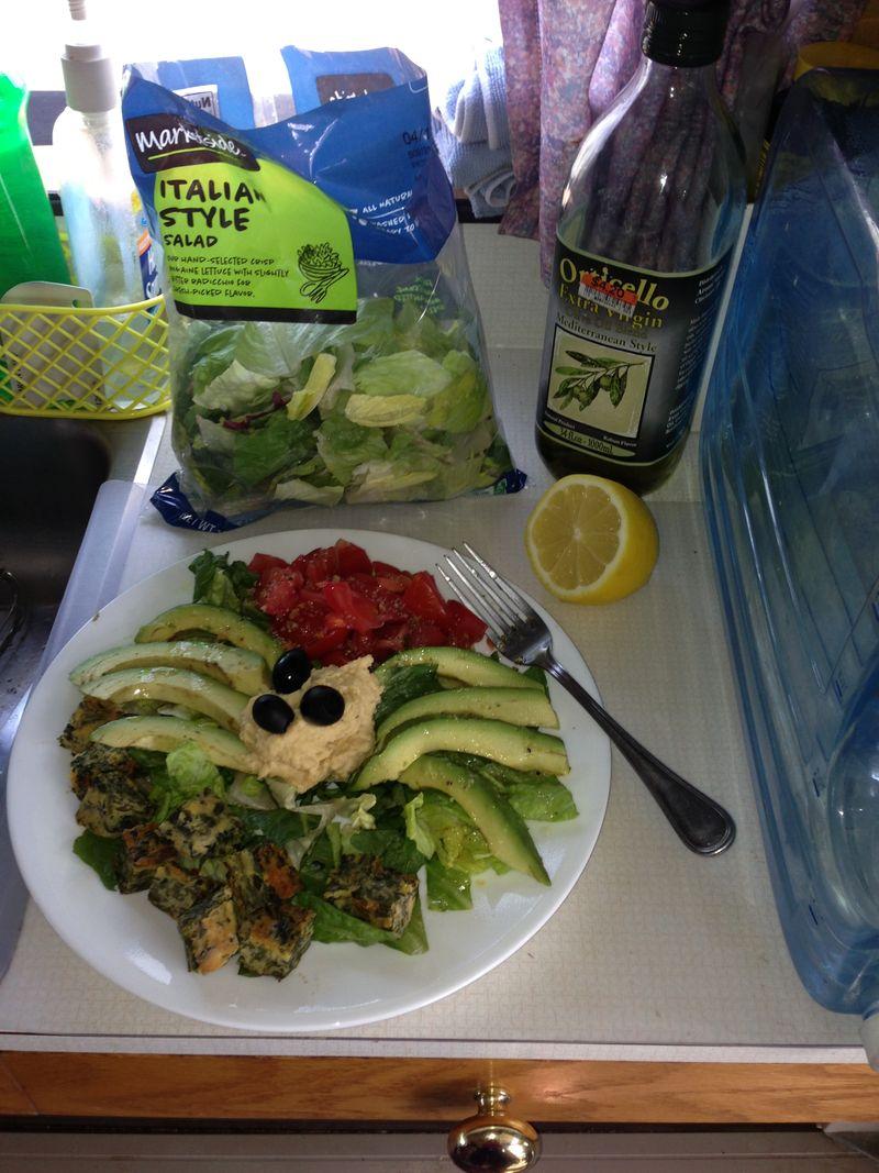 Salad showing plastic bag