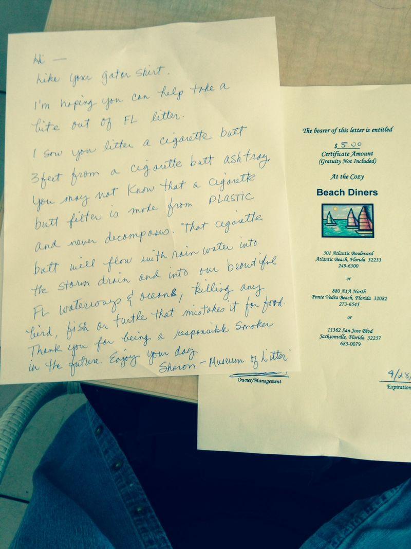 Beach Diner Gift Certificate & Letter