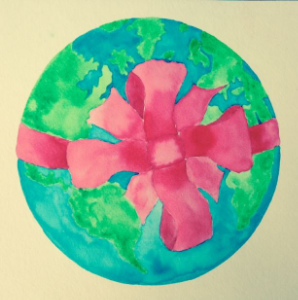 Earth w bow watercolor