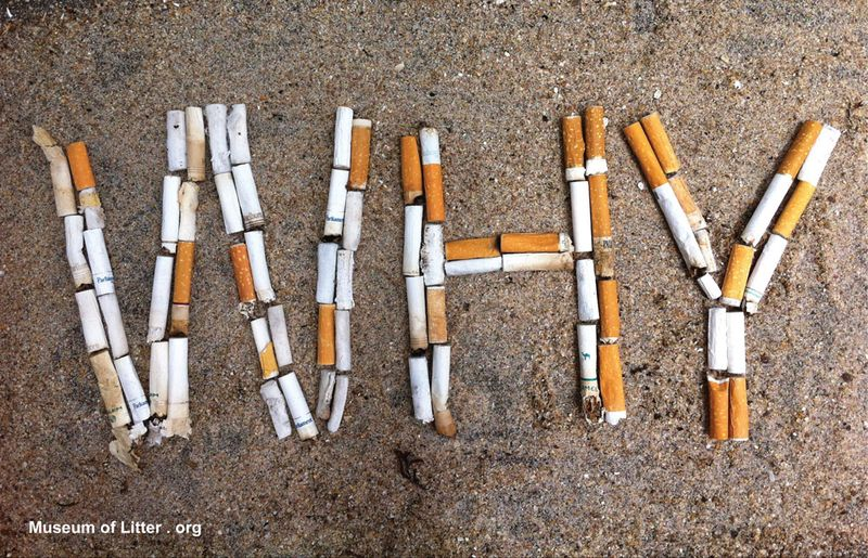 WHY spelled out in cigarette butts