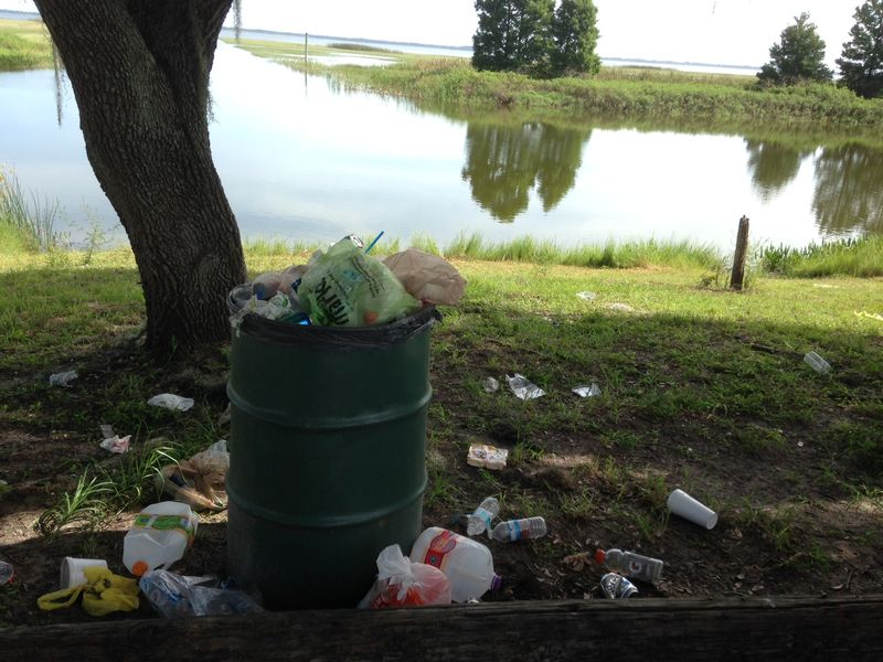 Overflowing Garbage Trash Can at Lake Toho in Kissimmee